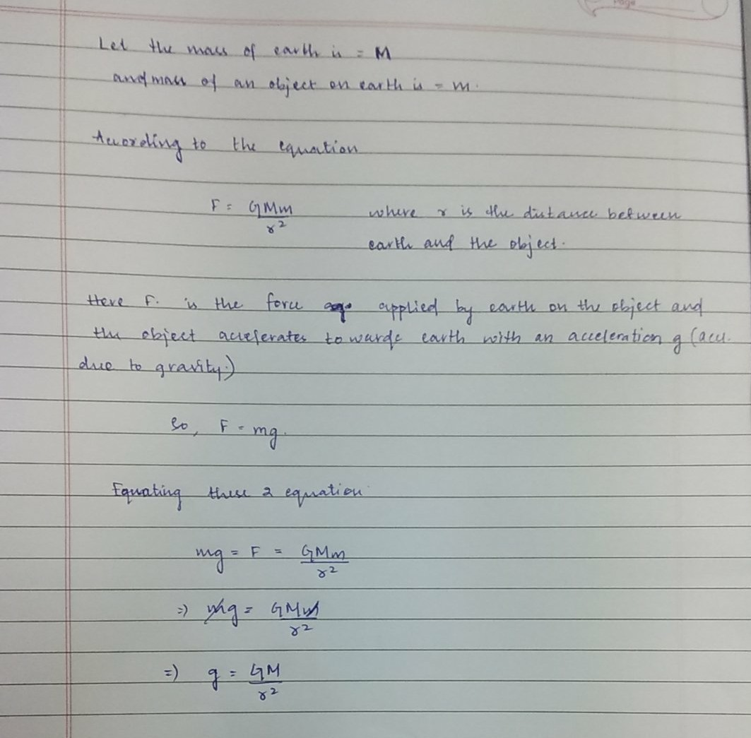 Establish The Relationship Between Acceleration Due To