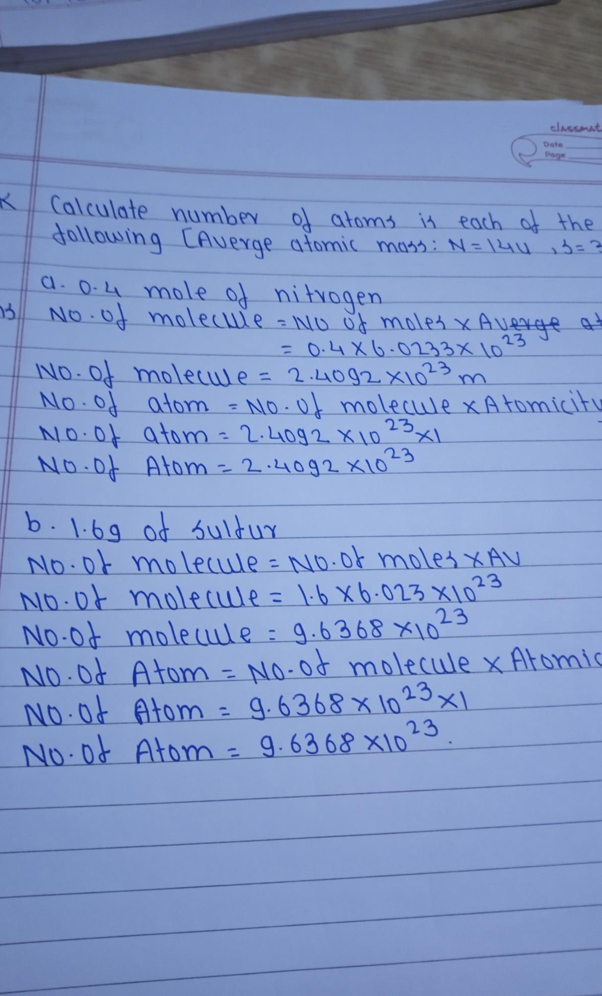 Calculate Number Of Atoms Is Each Of The Following