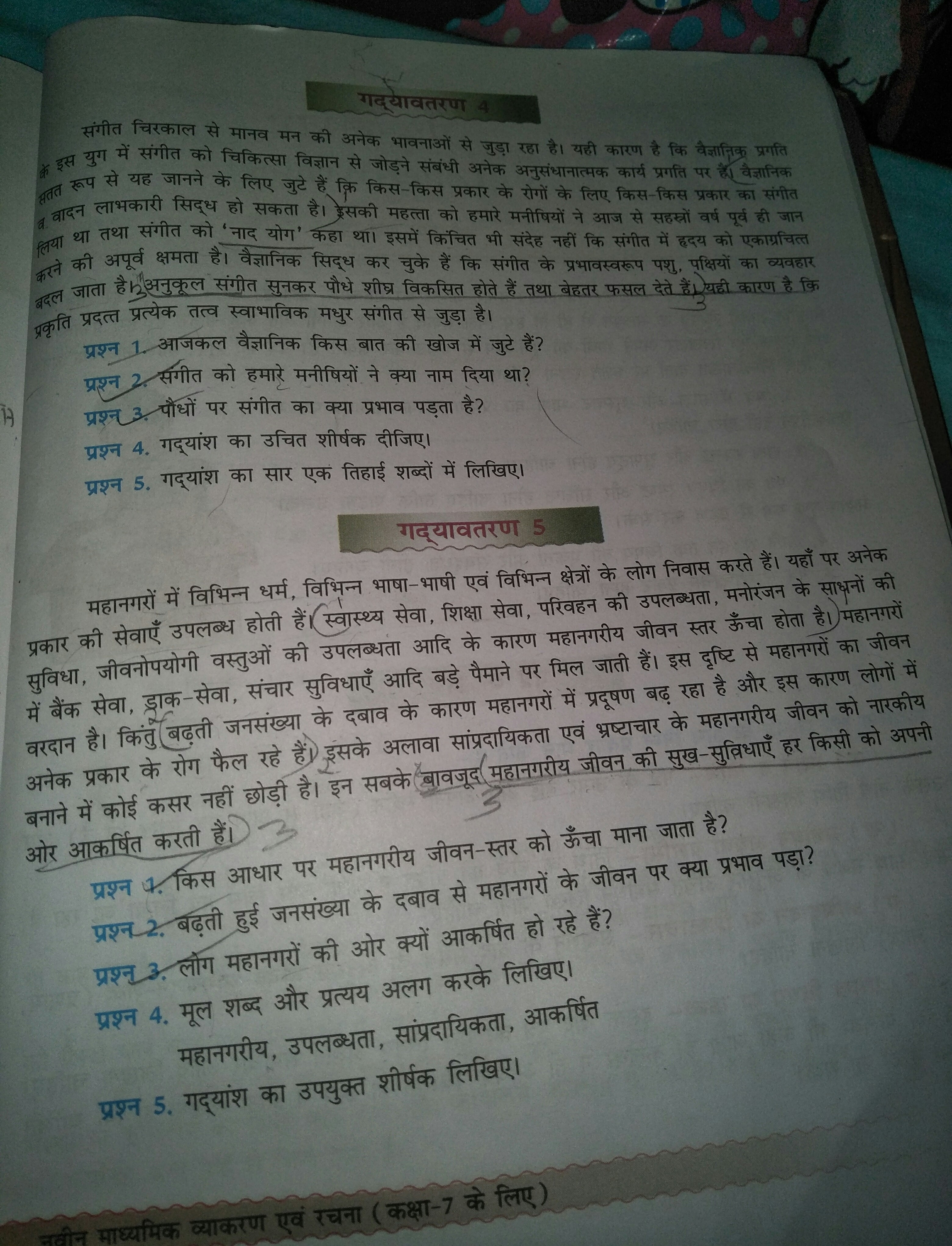 Unseen Passages For 7th Class In Hindi