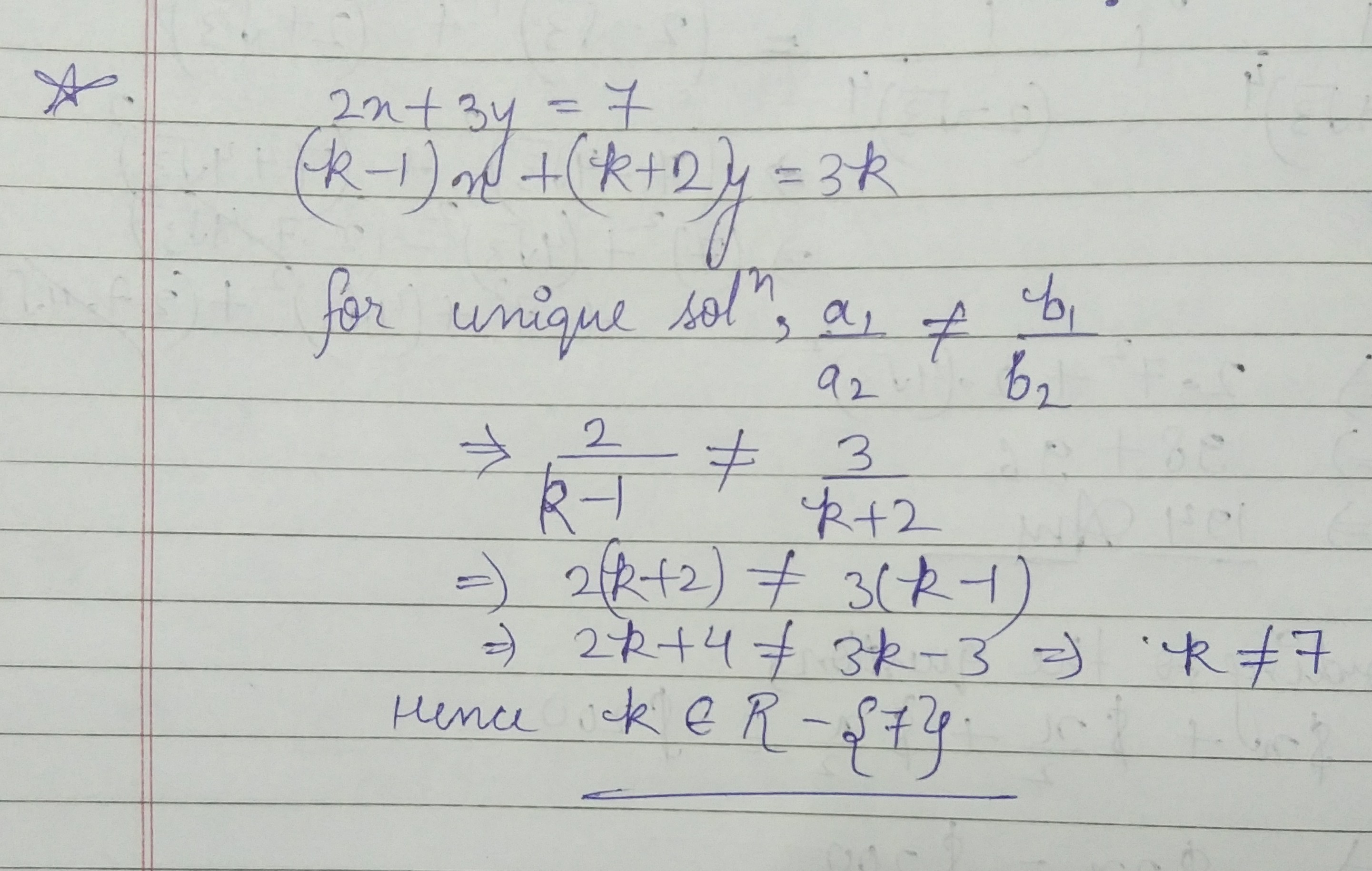 find the value of k for which the following pair of linear