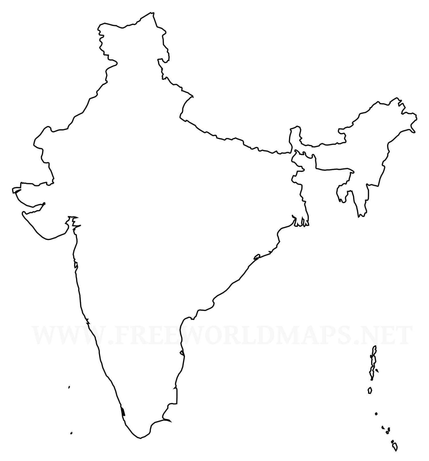 India Outline Map Hd Without Any Watermark