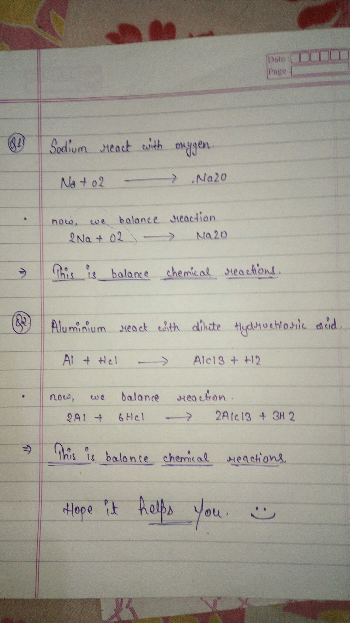 Write The Balanced Chemical Equation For The Following