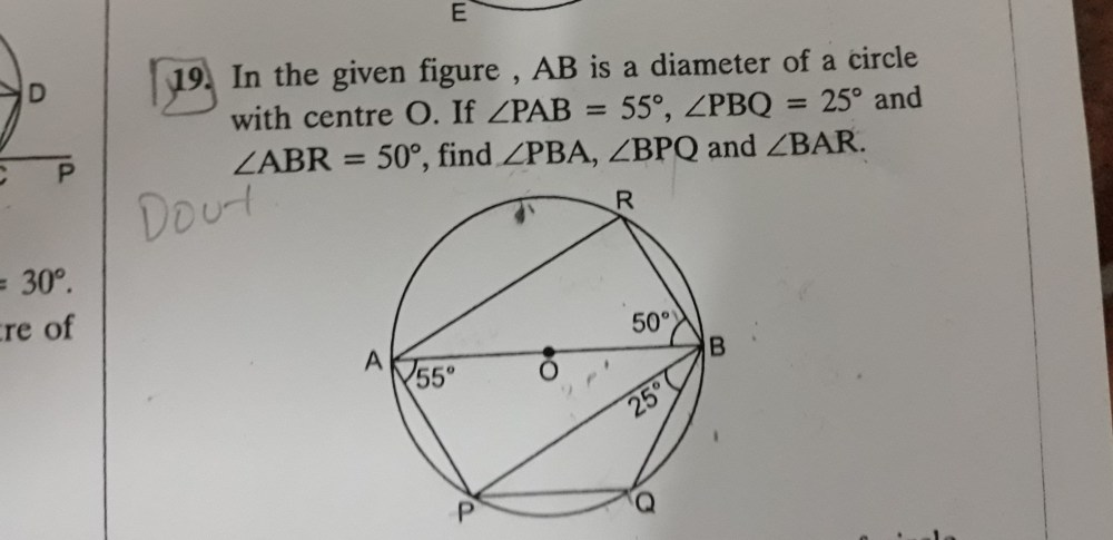medium resolution of ab is a diameter of a circle with centre o if angle pab 55 angle