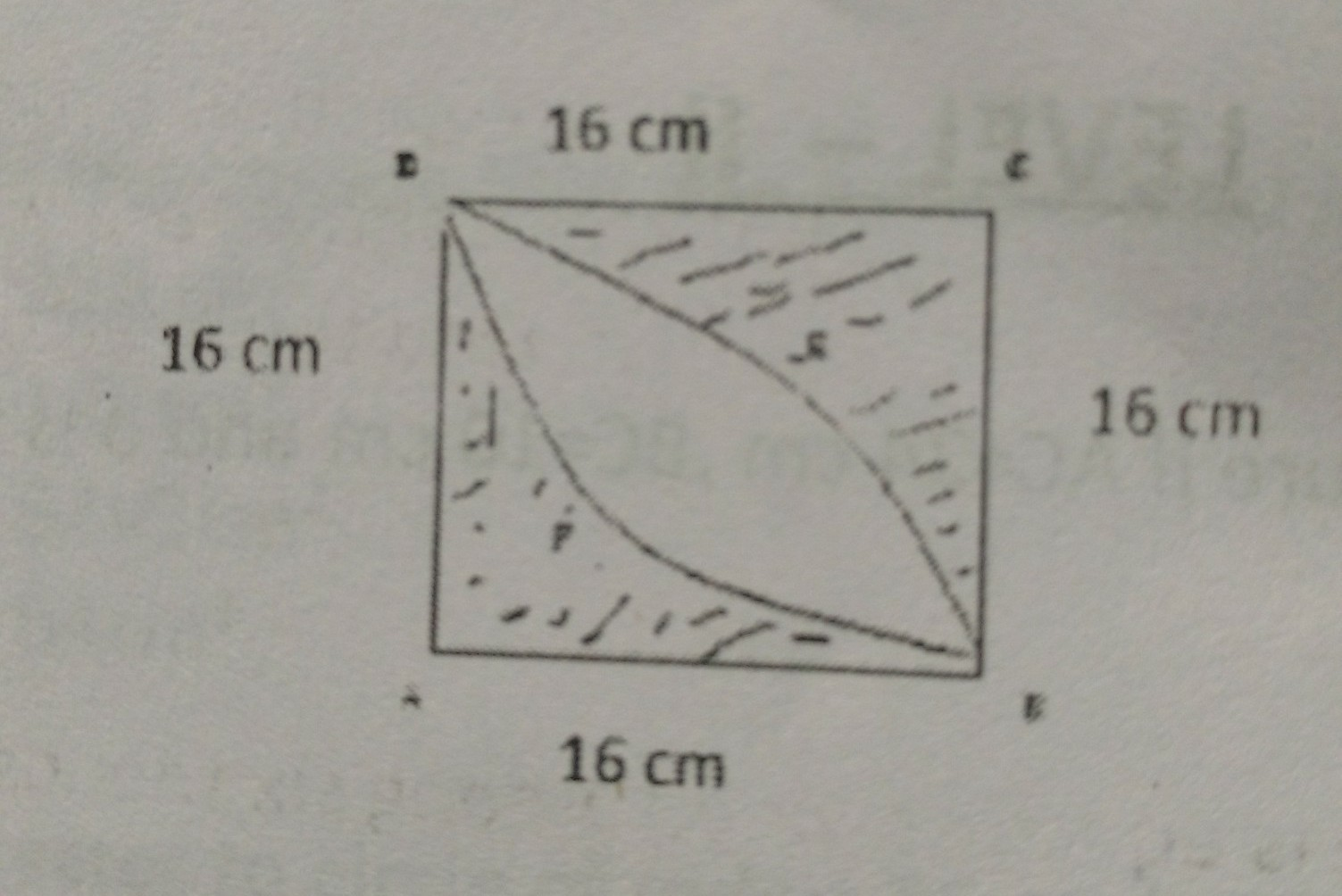 calculate the area of shaded region in given figure where