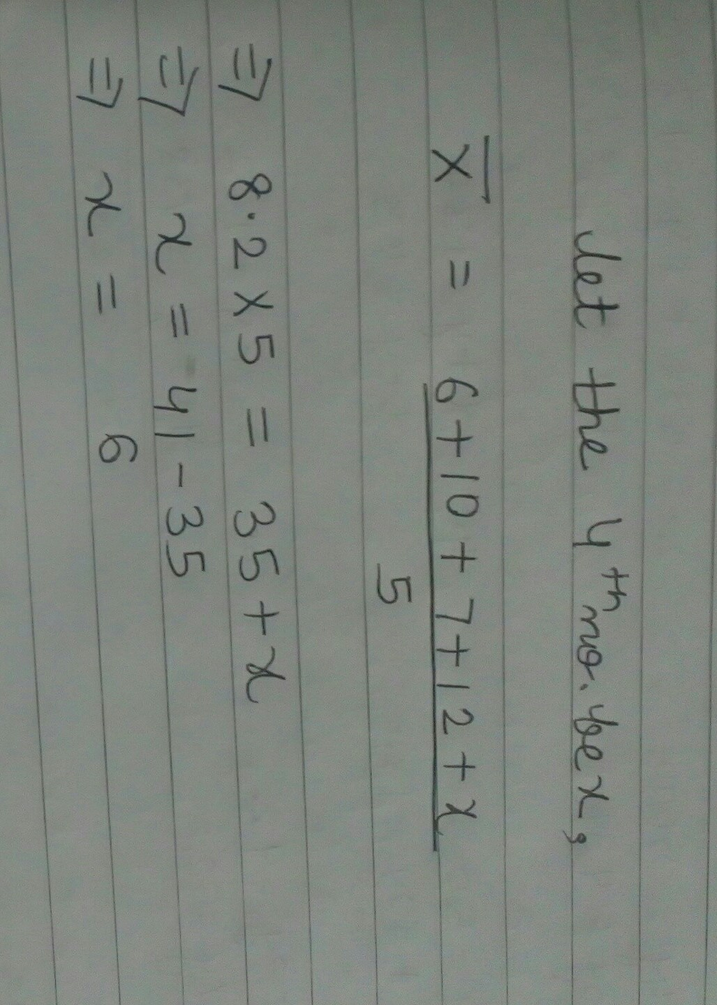 if the mean of five values is 8.2 and four of the values