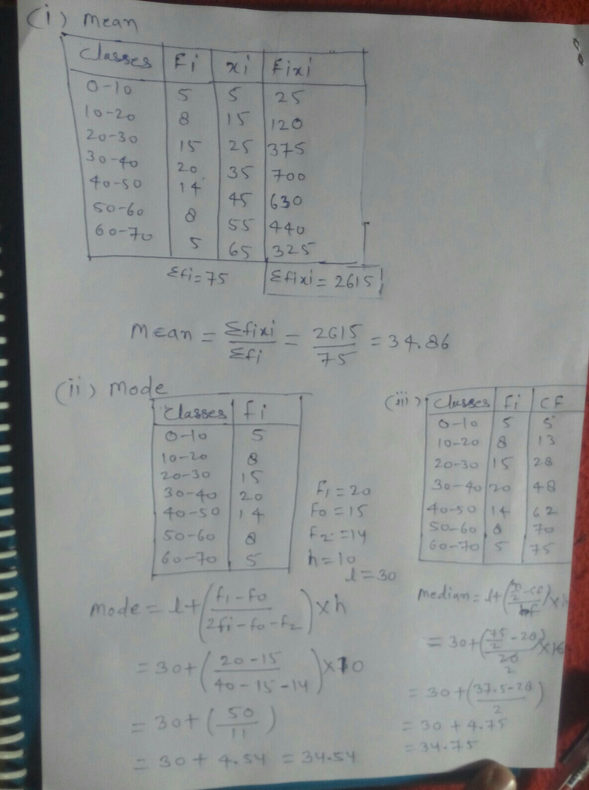 Find The Mean Mode And Median For The Following Data