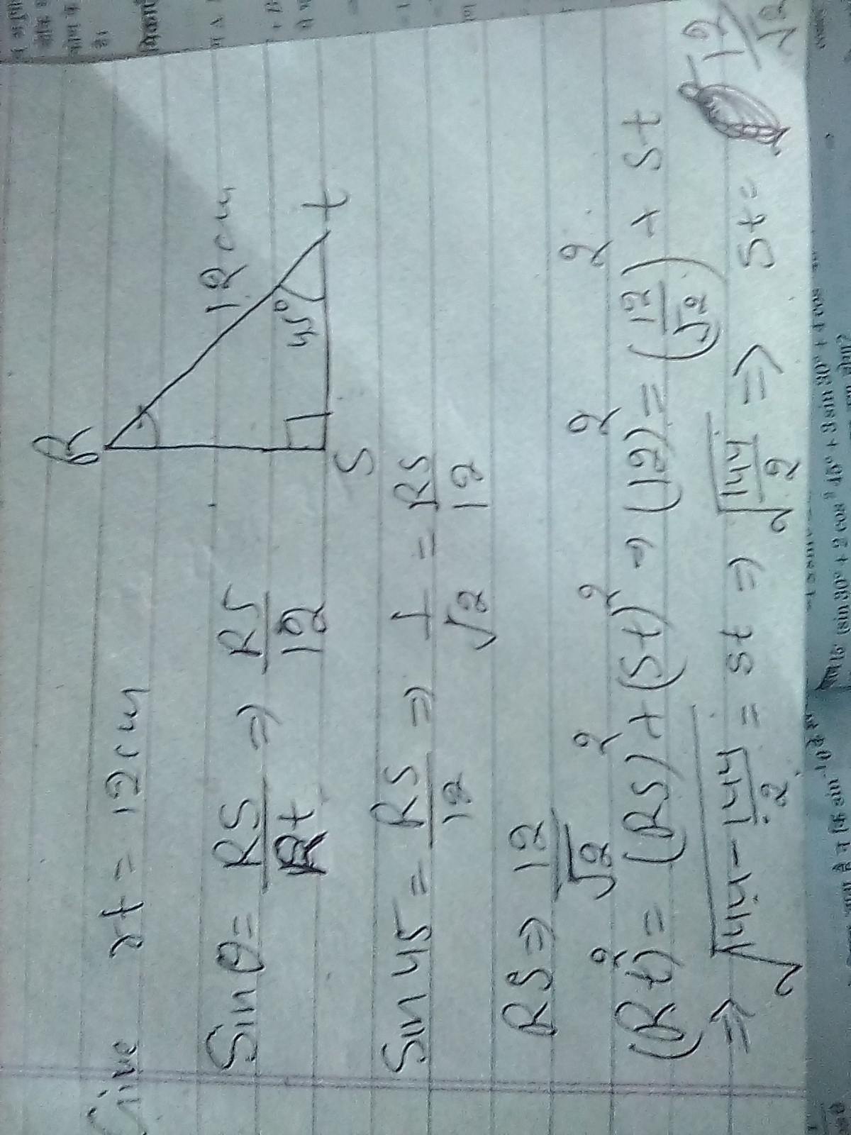 In Triangle Rst Angle S 90 Angle T 45 Rt 12 Find Rs
