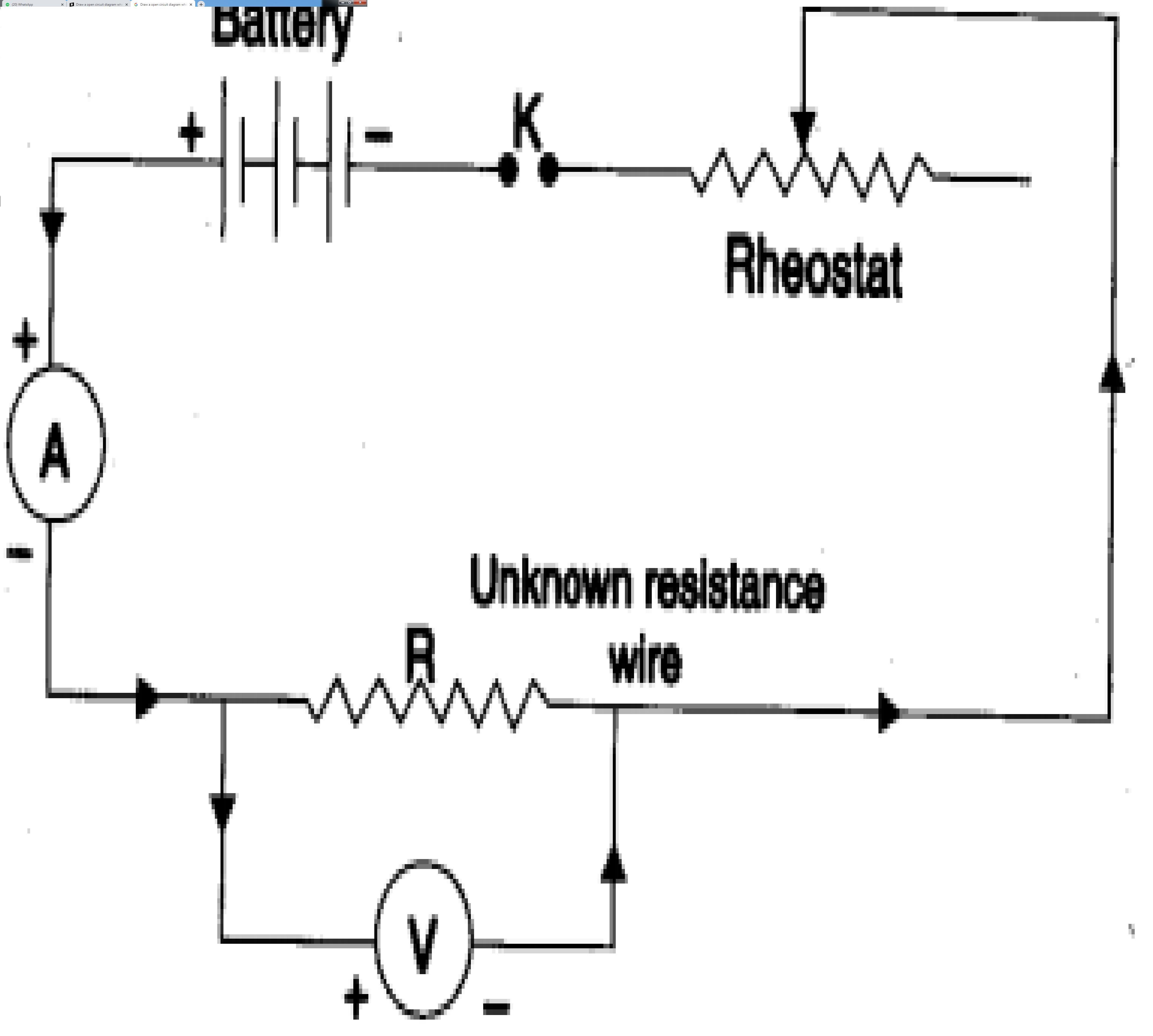 Draw a open circuit diagram which consist of ammeter, key