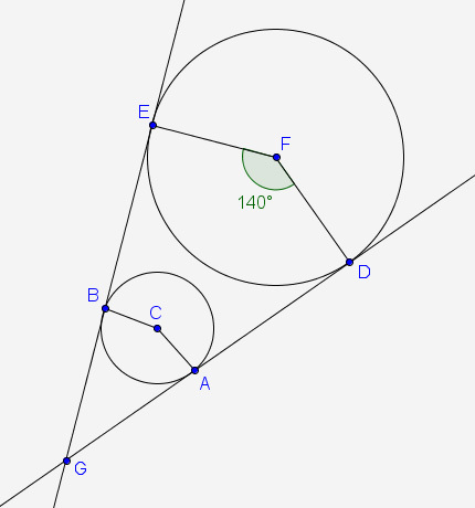 DG and EG are tangent to circle C and circle F. The points