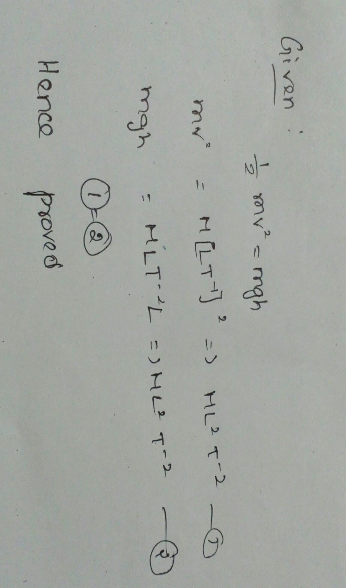 consider an equation 1/2mv^2 = mgh where m is the mass of