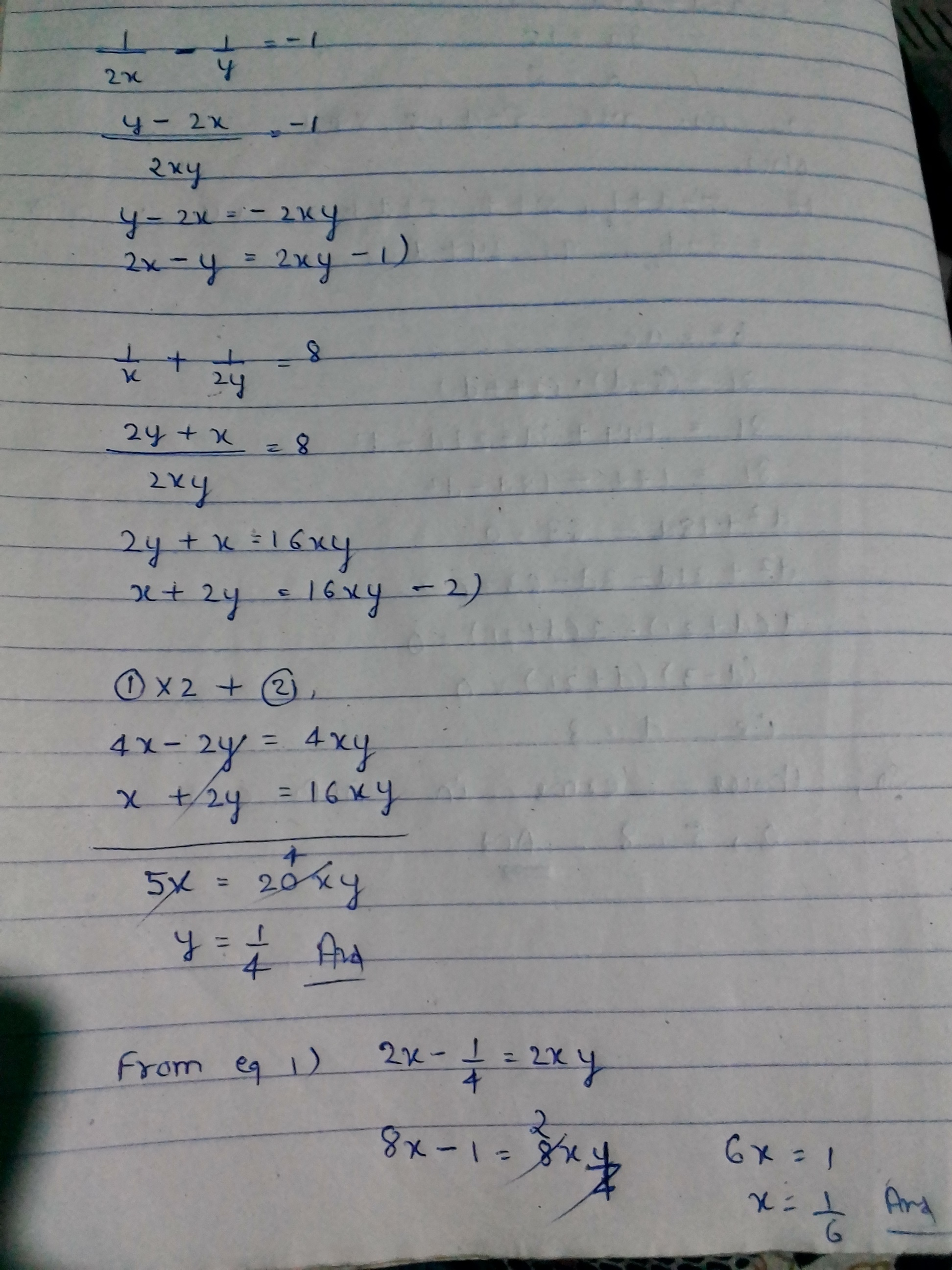 Solve The Equation 1 2x 1 Y 1 1 X 1 2y 8