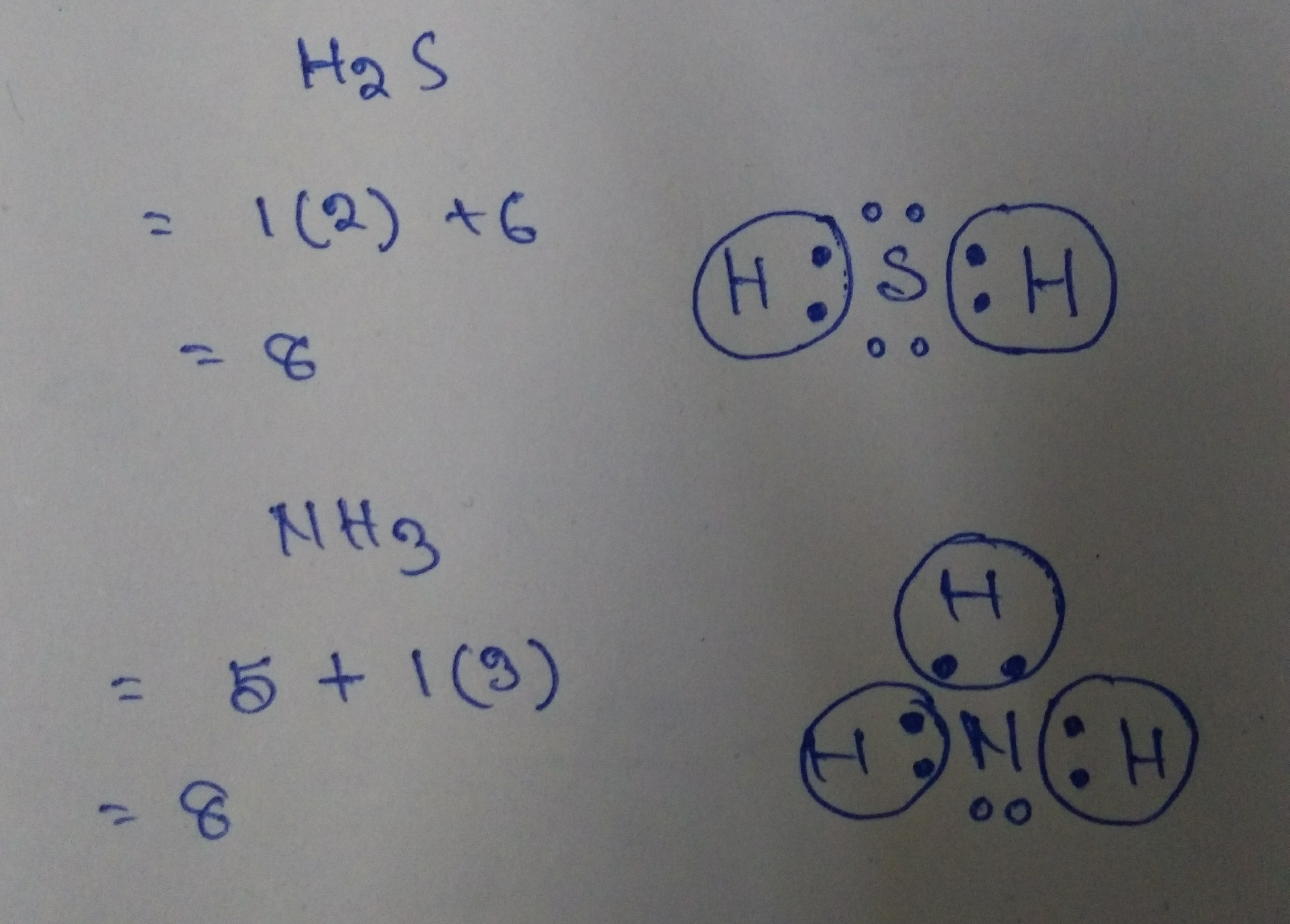 Draw The Lewis Dot Structures Of Nh3 And H2s