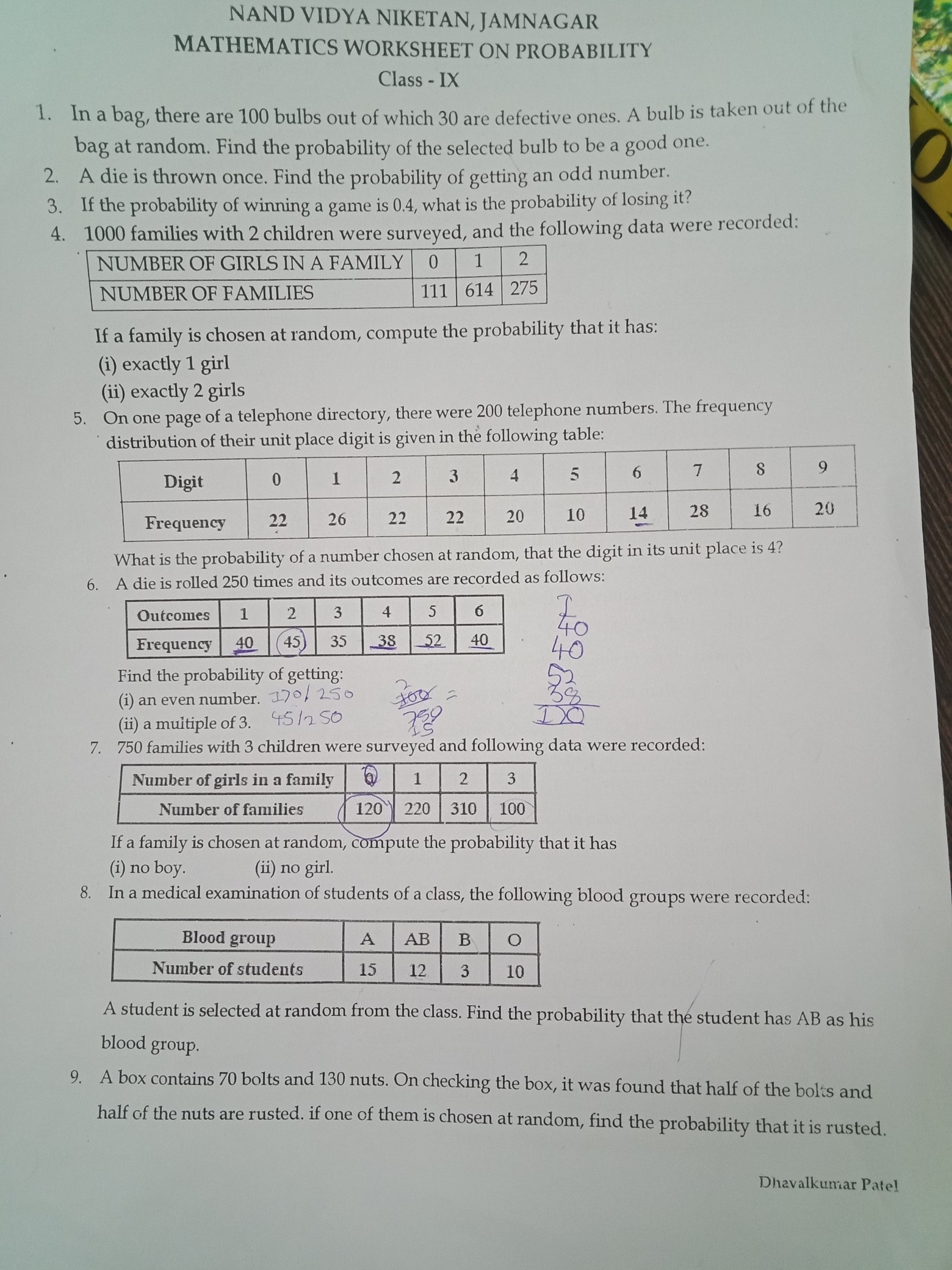 Worksheet For Class 9th Mathematics Chapter Probability 15