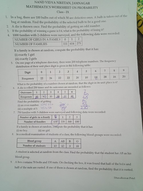 small resolution of worksheet for class 9th mathematics chapter PROBABILITY 15 - Brainly.in