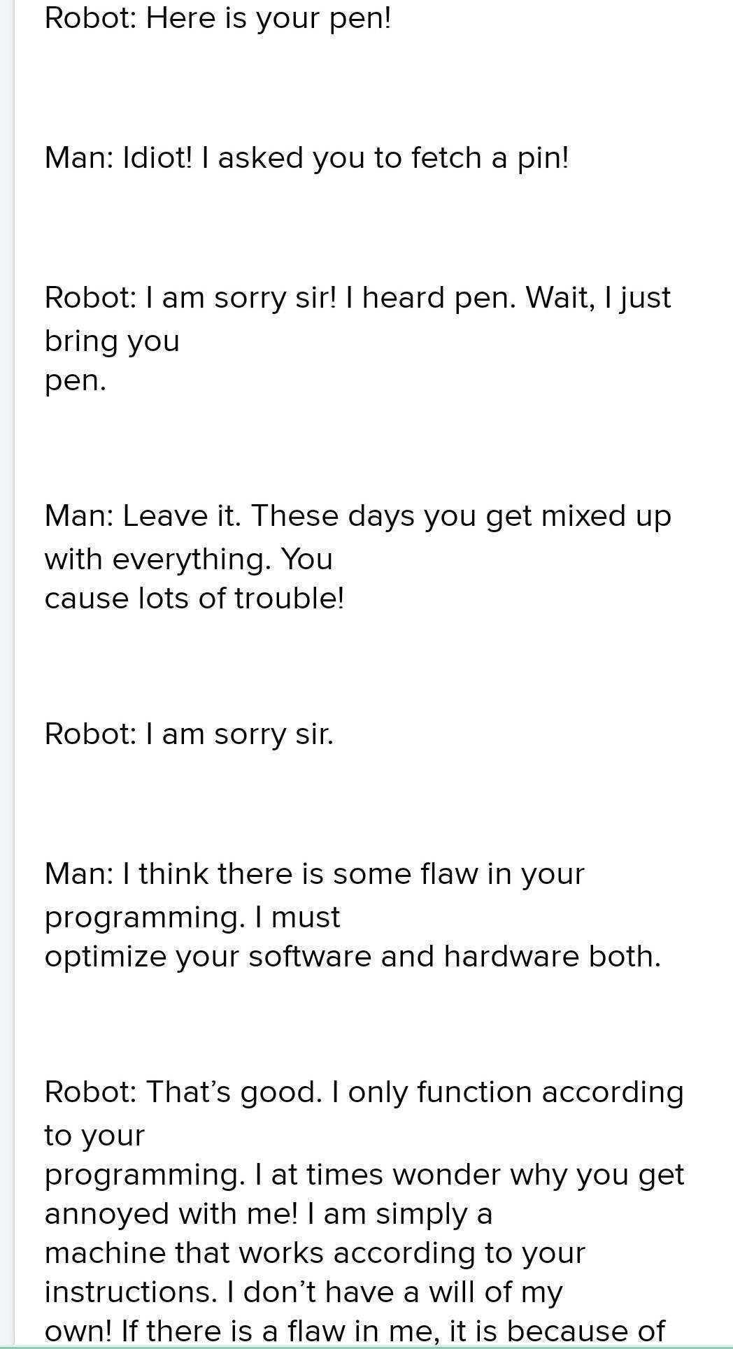 Funny Conversation Between Robot And Human : funny, conversation, between, robot, human, Funny, Conversation, Between, Robot, Brainly.in