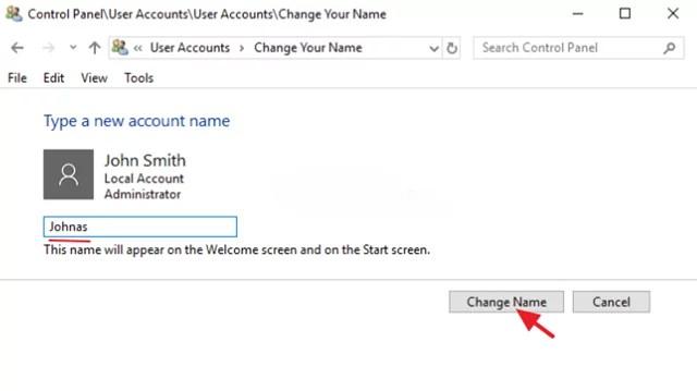 تغيير اسم المستخدم في ويندوز 10