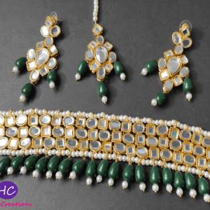 Farshi Kundan Choker Set (Green) Design with Price in Pakistan Online 2021