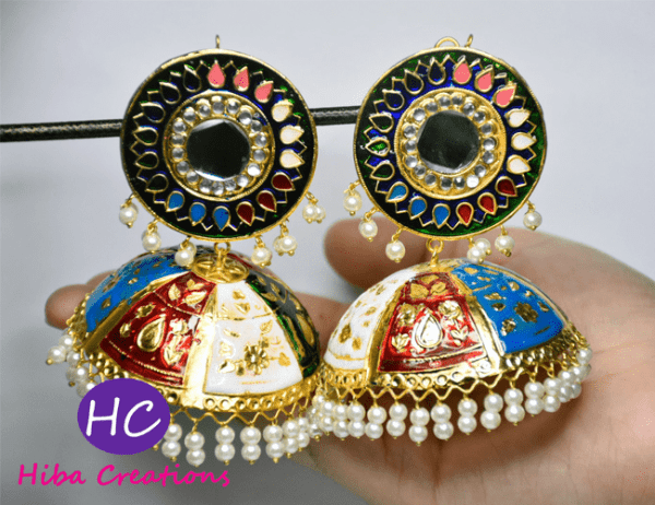 Multi Colors Meenakari Jhumkas Design with Price in Pakistan 2021 Online