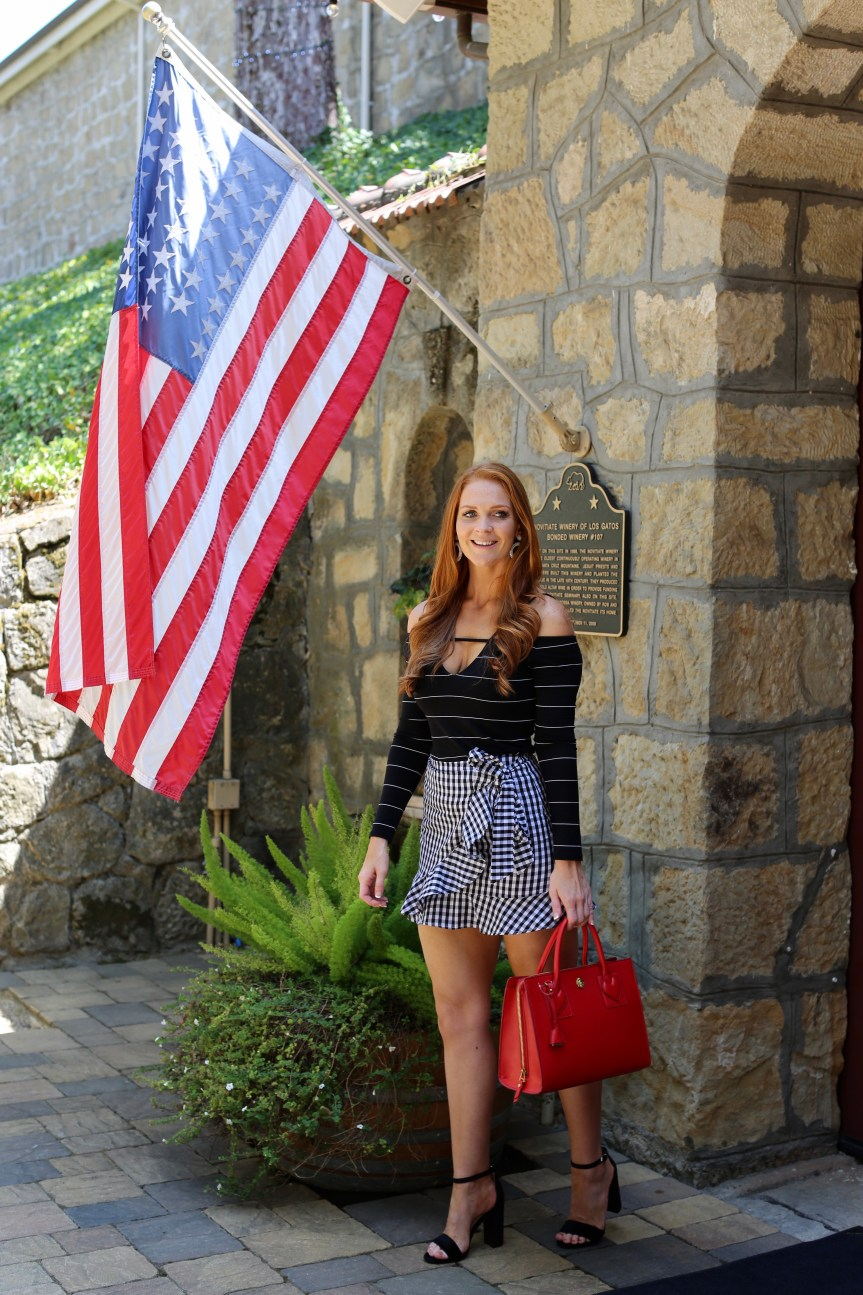Fashion blogger outfit for wine tour and tasting outside of napa valley, Testarossa Winery