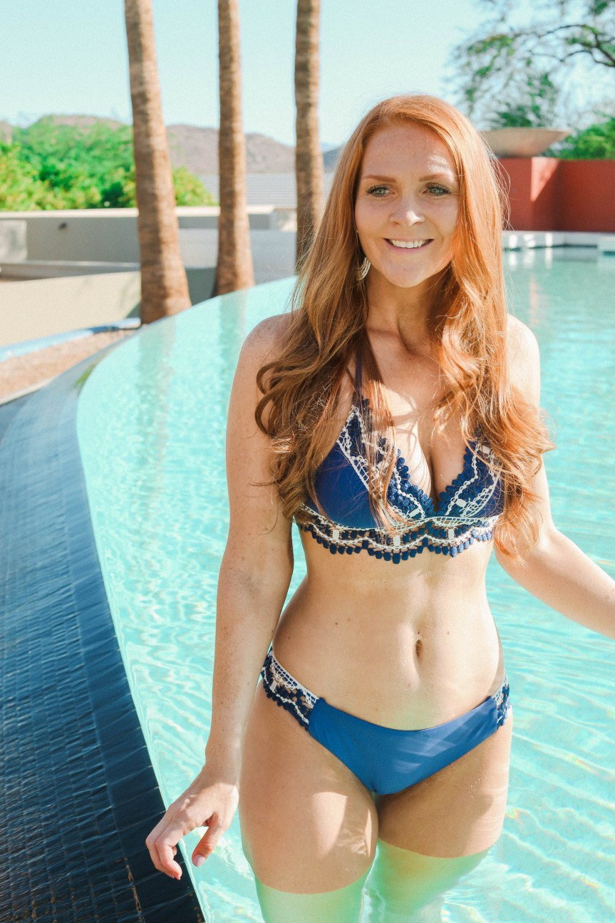 Fashion blogger shows swimwear at Sanctuary Resort in Scottsdale, Arizona
