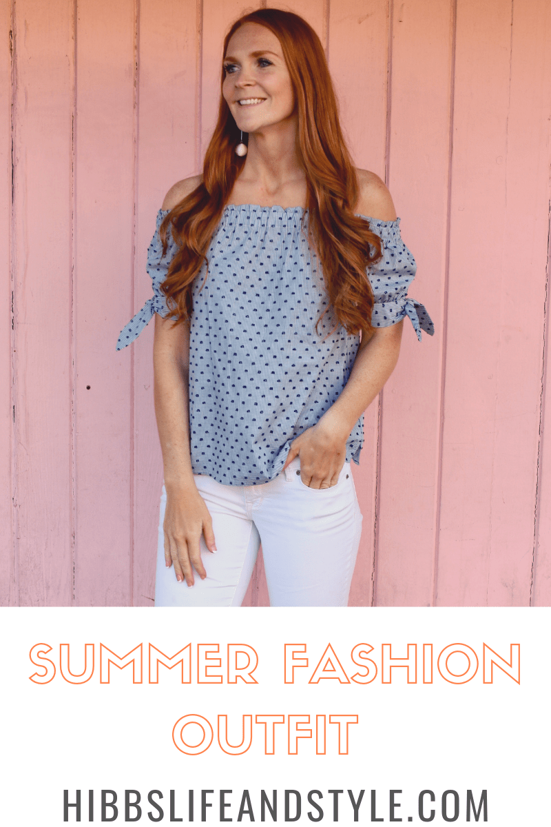 SUMMER OUTFIT: Off The Shoulder Women's Fashion Outfit + White Jeans