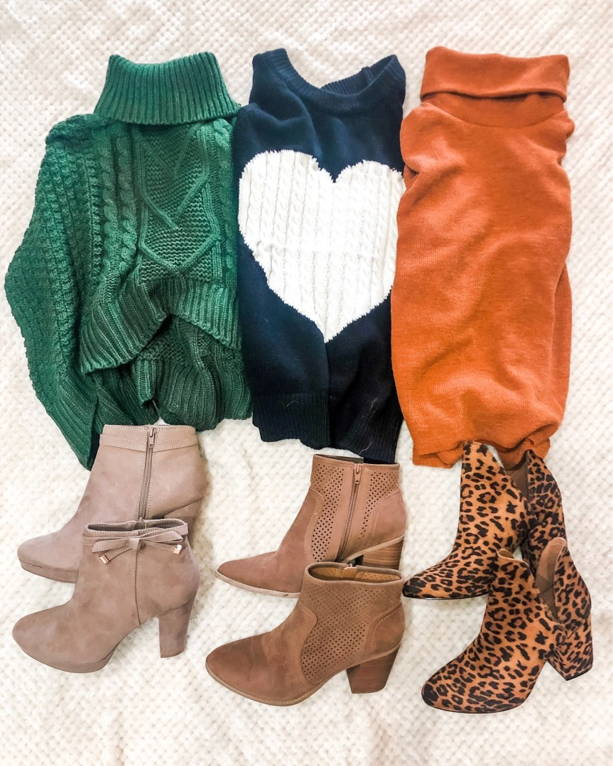 Fall sweater and boot flat lay for the fall