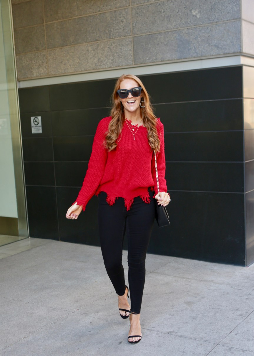 Fashion Blogger Shares Trendy Red Sweater for Valentines Day