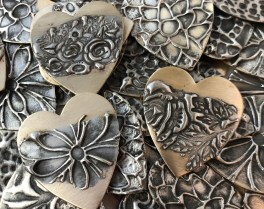 Stamped Brass Hearts
