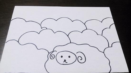 羊の手書き年賀状2