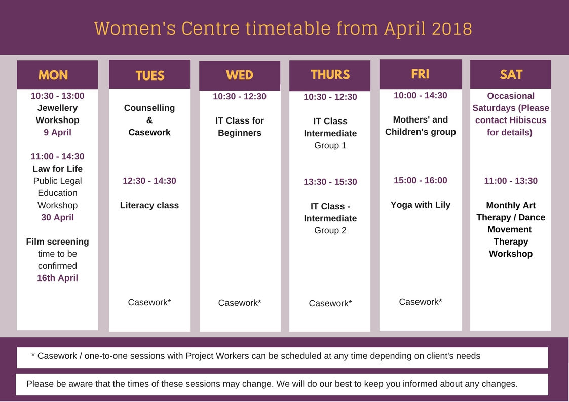 Women's Centre timetable from April 2018