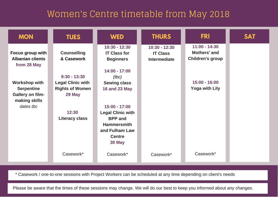 Women's Centre timetable from May