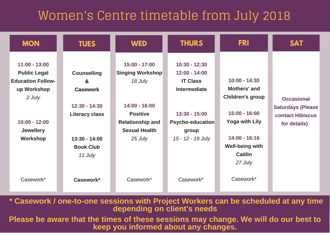 Women's Centre timetable  – July