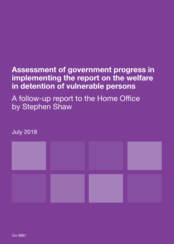 Stephen Shaw's follow up report on the welfare in detention of vulnerable persons