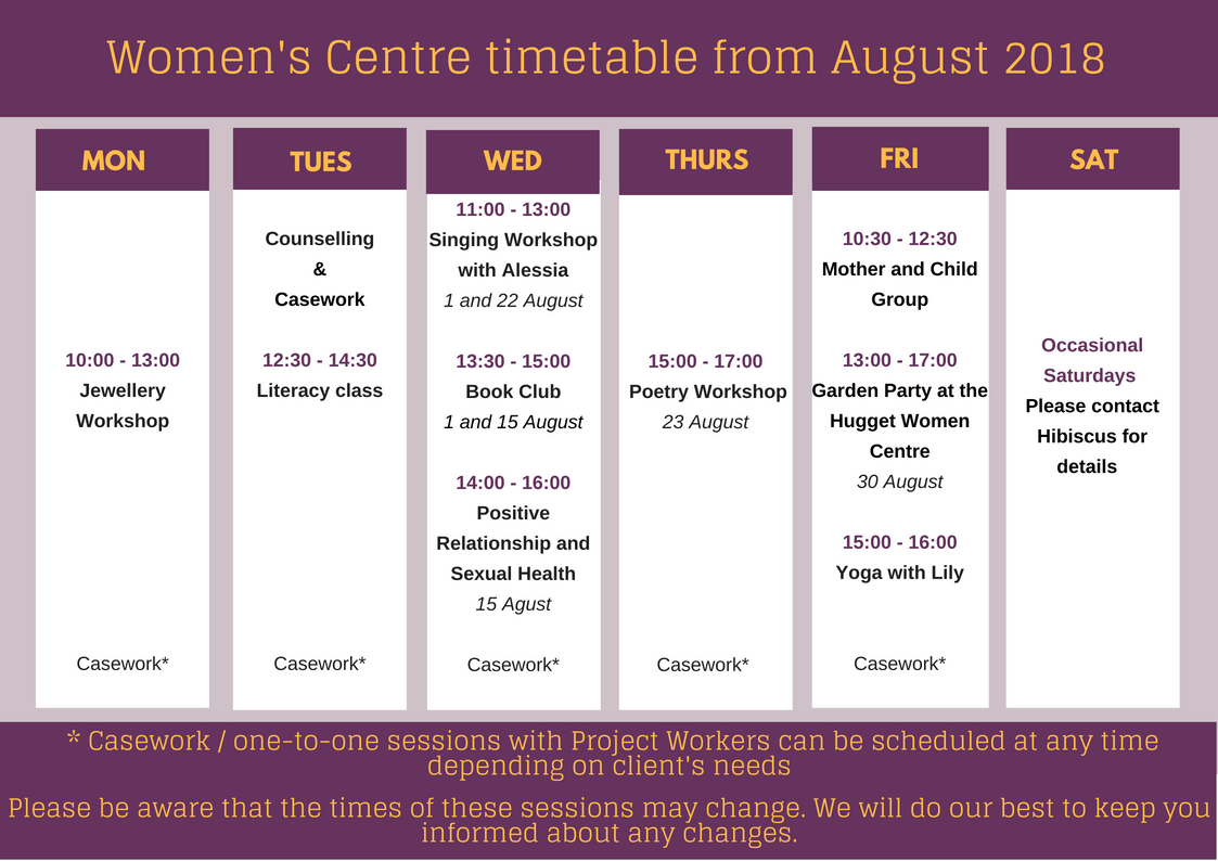 Women's Centre timetable – August