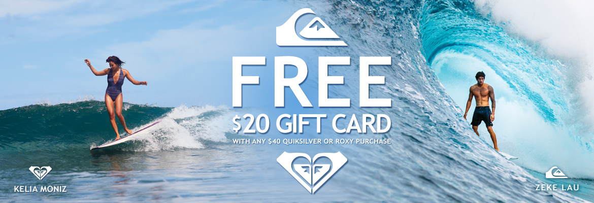 Free $20 Quiksilver/Roxy Gift Card