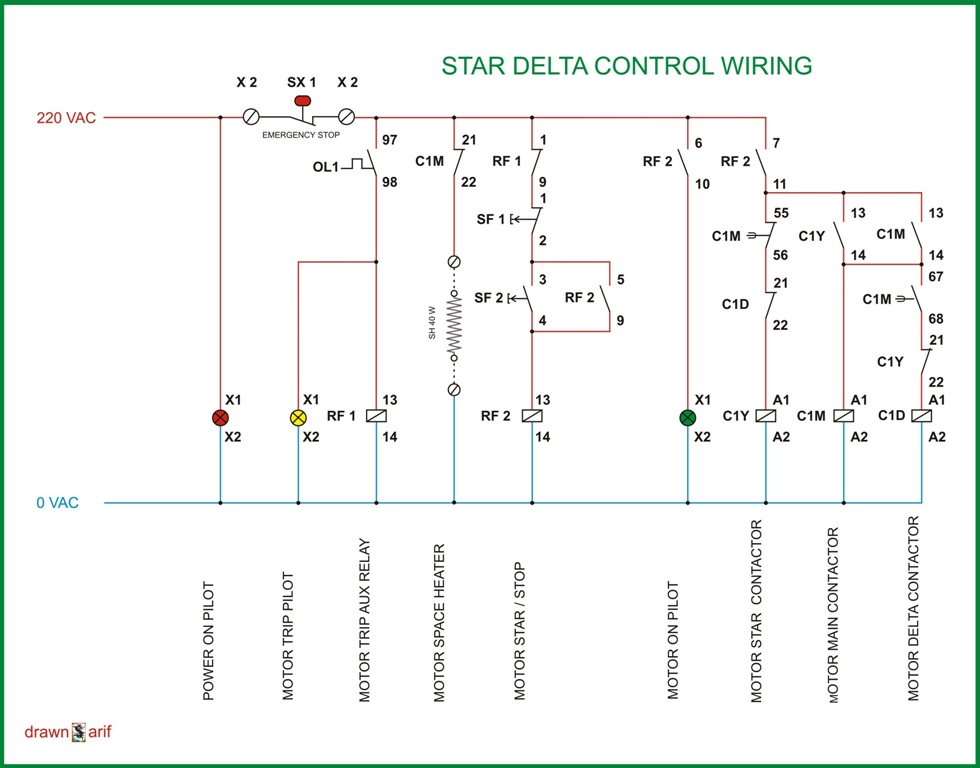 Control Wiring Of Star Delta Starter With Diagram Control Wiring
