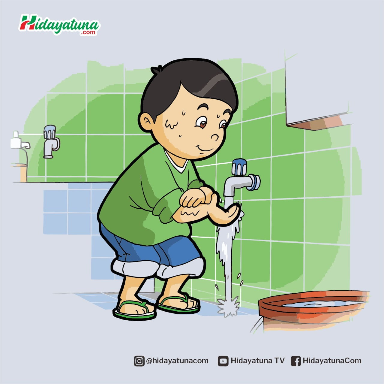 Membersihkan najis dengan air (Ilustrasi/Hidayatuna)