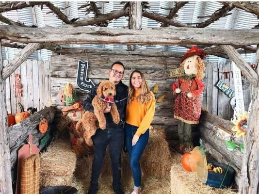 hidden acres puppies client with goldendoodle