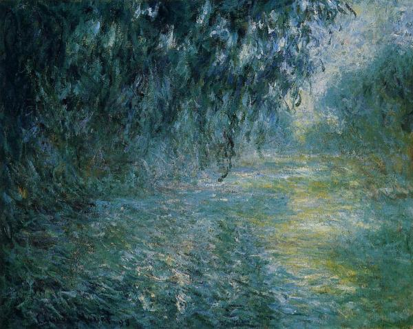 Rain in the Morning On the Seine Monet