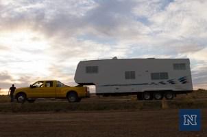 Mobile command center before sunset.