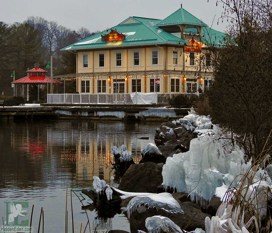 Muskokabilly restaurant in winter on Lake Muskoka Gravenhurst Ontario