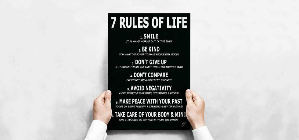7 RULES OF LIFE MOTIVATIONAL POSTER BY HIDDEN FOREST LIFESTYLE