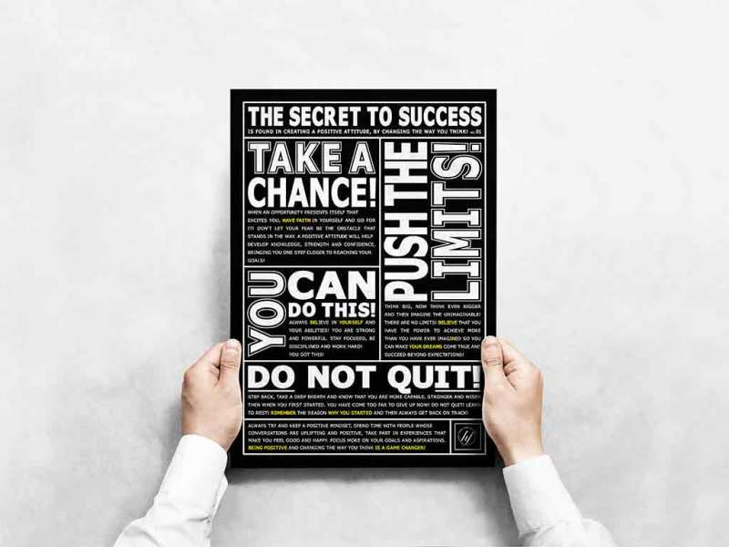 THE SECRET TO SUCCESS MOTIVATIONAL POSTER BY HIDDEN FOREST LIFESTYLE