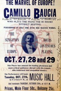 A flyer of a performance by pianist Camillo Baucia
