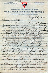 Letter written by Alex Pisciotta to his mother while deployed in France and working on a farm during World War I.