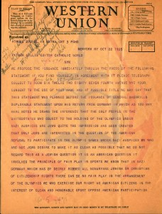 Telegram written by Christian Leaders asking Father James Martin Gillis to join them in calling for a boycott of the 1936 Summer Olympic Games