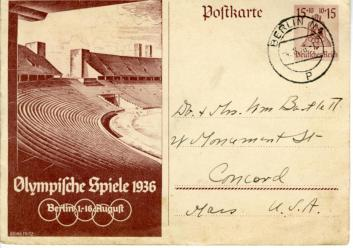 Postcard written by J.J Cole to Edward J. Bartlett's parents while at the Berlin Olympics, August, 1936 (front)