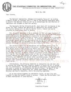 The Ethiopian Committee on Immigration, Inc. 1983 Fundraising Letter