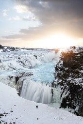 Golden Hour over Gullfoss waterfall   Winter Lights photo tour with Tom Archer & Wahyu Mahendra   Hidden Iceland   Photo by Tom Archer