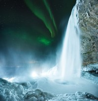 Seljalandsfoss Northern Lights | Winter Lights photo tour with Tom Archer & Wahyu Mahendra | Hidden Iceland | Photo by Tom Archer